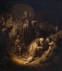 Adoration of the wise men by Rembrandt